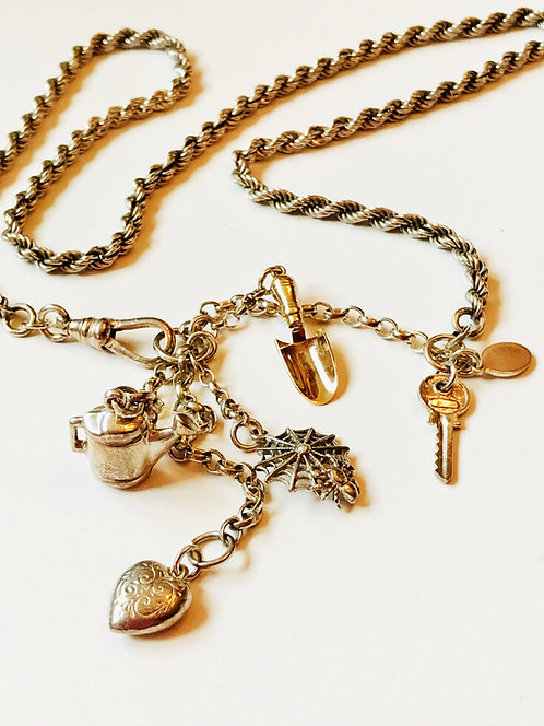 Silver & Gold Vintage Charm Necklace 'Green Fingers'