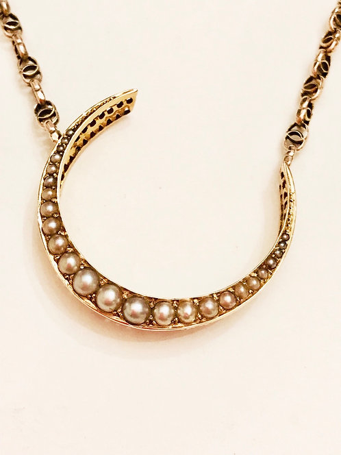 Beautiful Antique 9ct Gold Pearl Crescent Moon Fancy Chain Necklace