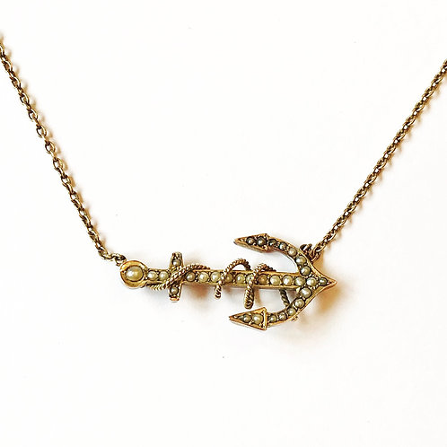 Antique Victorian 9ct Gold & Seed Pearl Anchor Necklace 'Hope'
