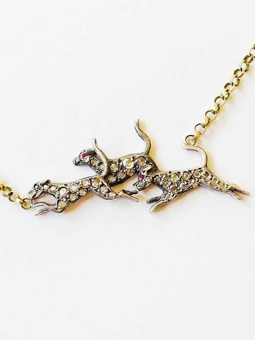 Antique Gold, Diamond, Ruby Fox & Hounds Necklace 'The Thrill of the Chase'