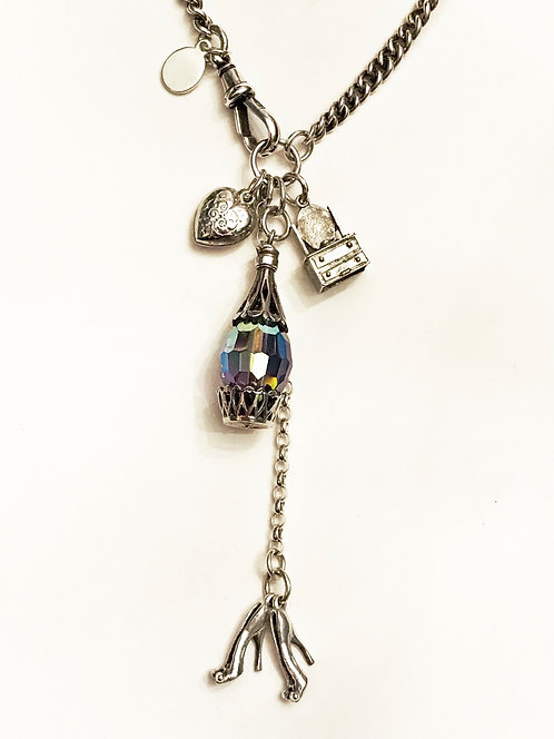 'Girls Night Out' Silver Watch Chain Vintage Charm Necklace