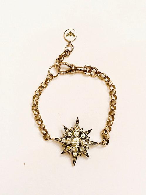 Antique Silver & Paste Starburst on 9ct Antique Chain Bracelet