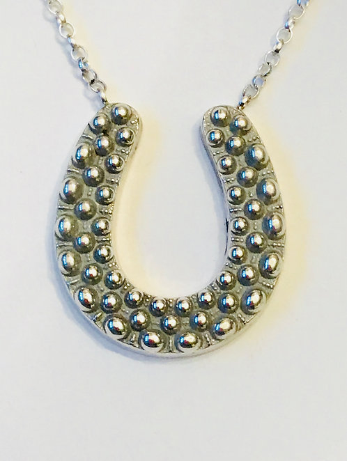 Antique Silver Horseshoe Necklace