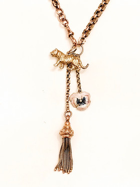 Antique Gold Watch Chain Vintage Charm Necklace