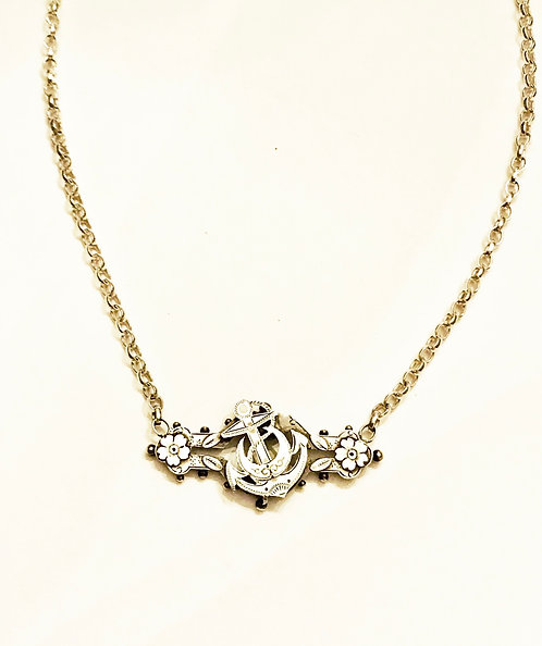 Antique Silver Sweetheart Anchor, Crescent, Flower Necklace