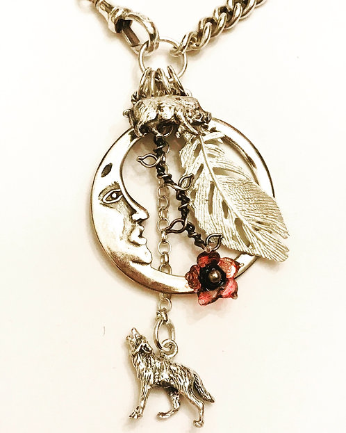 Antique Silver Watch Chain Vintage Charm Necklace, Moon, Wolf, Boar, Feather