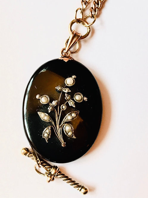 Antique Victorian 18ct Gold,Onyx Seed Pearl Mourning Locket Watch Chain Necklace