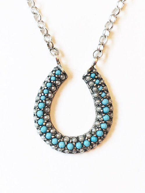 Antique Silver, Turquoise & Pearl Horseshoe Necklace