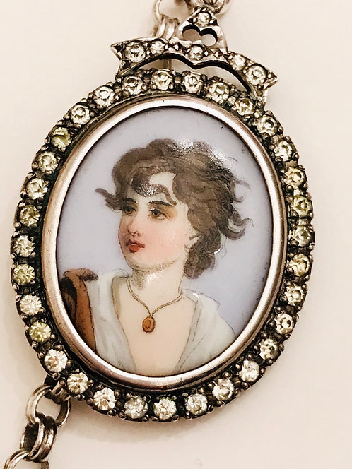 Antique Silver & Paste Hand Painted Porcelain Portrait Photo Locket Necklace