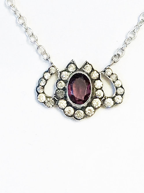 Antique Victorian Silver, Paste & Amethyst Triple Lucky Horseshoe Necklace