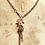 Thumbnail: Antique/Vintage Silver Multi Chain Flamingo, Butterfly, Rose Quartz Necklace