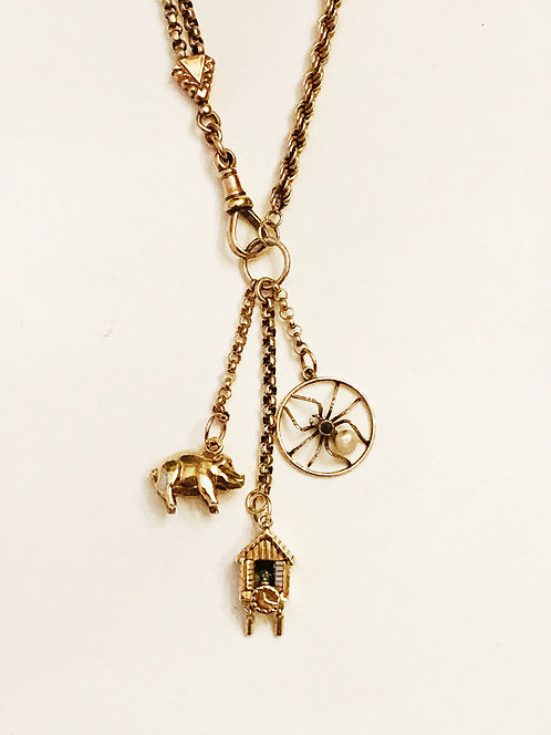 9ct Gold Antique Albertina Watch Chain, Vintage Charm Necklace