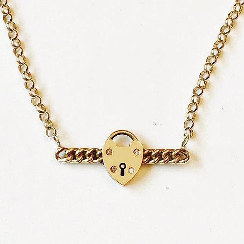 Antique Victorian 15ct Gold Suffragette Chain Padlock Diamond Necklace