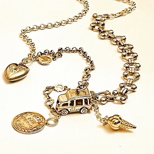 Vintage Silver & 9ct Gold Multi Chains, Vintage Ice Cream Charm  Necklace