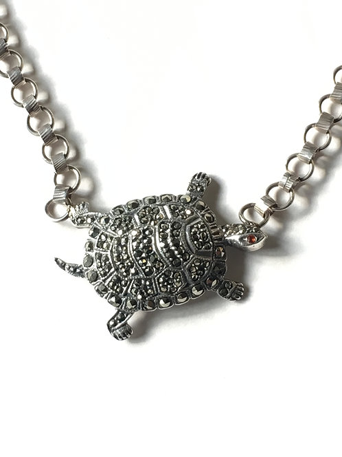 The 'Tilly Turtle' Silver Vintage Necklace
