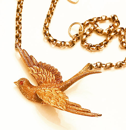Antique Victorian 18ct Gold & Ruby Swallow Necklace
