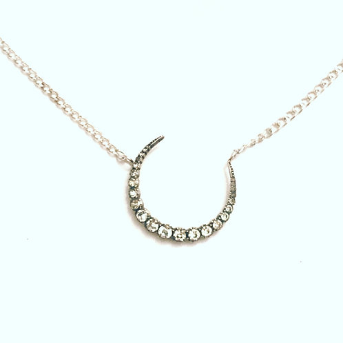Antique Silver & Paste Crescent Moon Necklace 'Moondance'