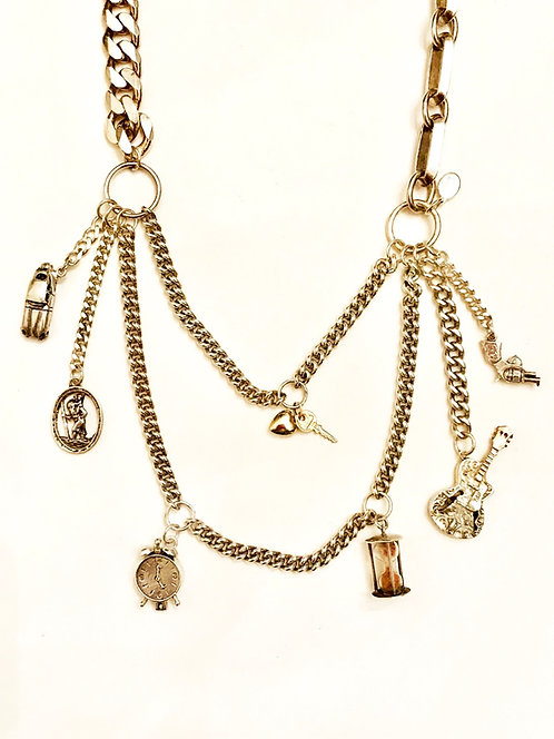 Very Heavy Silver Chains and Vintage Charms Quirky Mens Charm Necklace