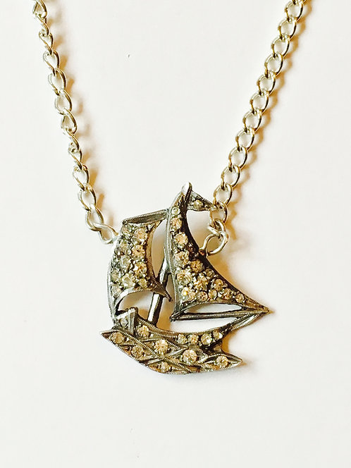 Vintage Silver and Diamond Paste Nautical Ship Necklace 'Dreamboat'