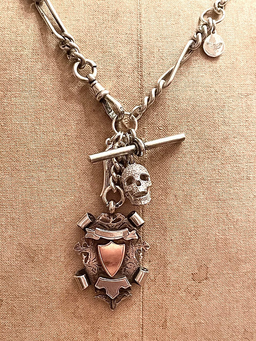 Antique Heavy Silver Watch Chain, Fob, Crystal Skull, Angel Wing Necklace