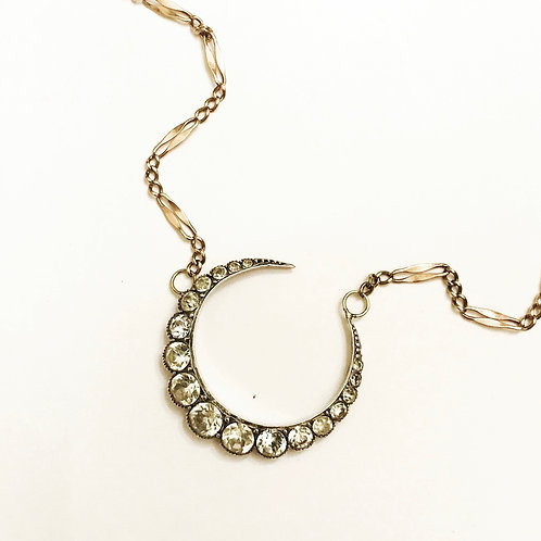 Antique Crescent Moon, 9ct Gold Chain Necklace 'Over the Moon'