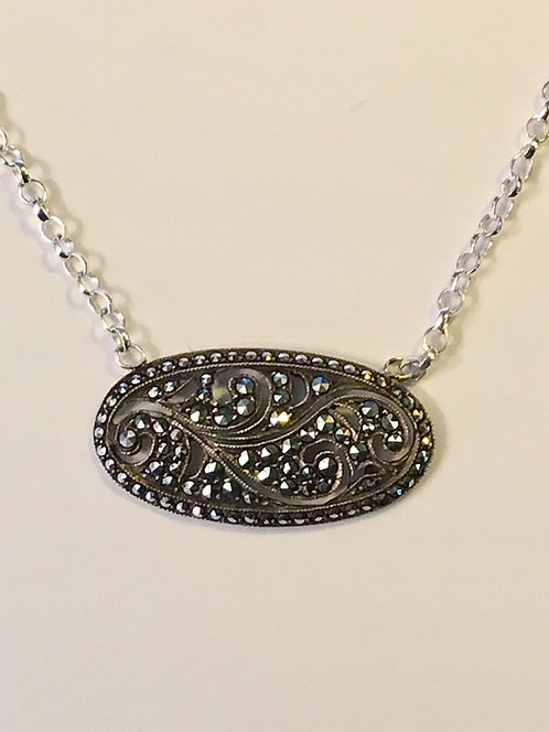 Pretty Vintage Silver & Marcasite Fern Leaf Necklace