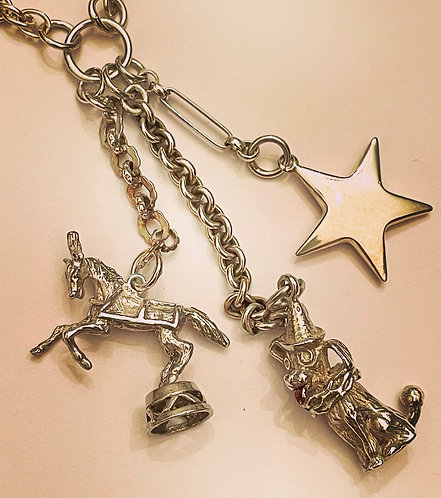 Silver Albertina Chain Vintage Charm Necklace, Show Pony, Circus Dog, Star