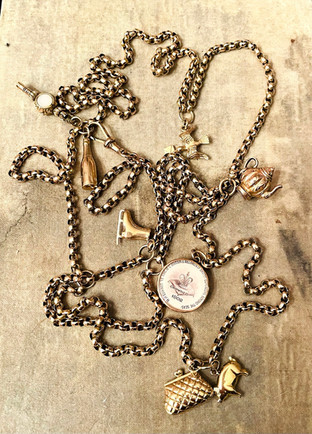 Long Guard Gold Charm Necklace
