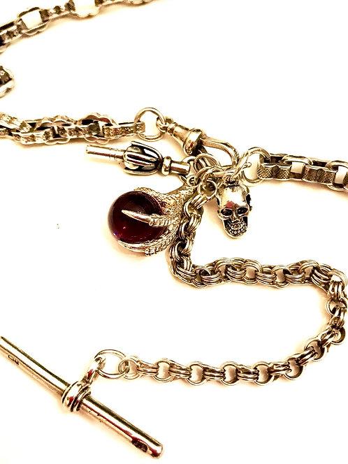 Antique Silver Fancy Watch Chain, Charms & Curios Skull Claw Amethyst N