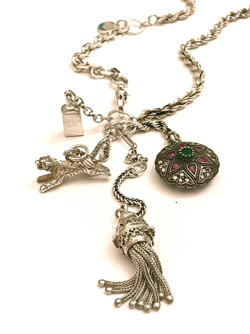 Silver Vintage Chains and Charm Necklace, Tiger, Tassel, Gin, Precious Stone