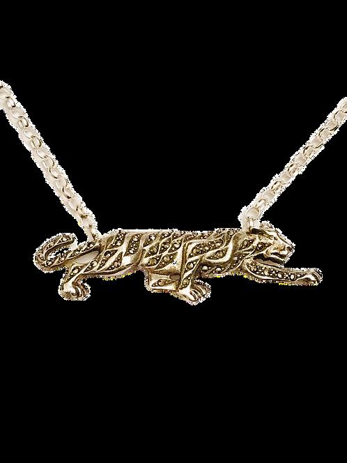 Fierce Vintage Silver and Marcasite Embellished Tiger Necklace