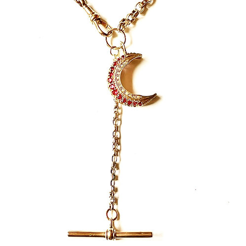 Antique 9ct Gold Fancy Watch Chain Necklace with Ruby Pearl Crescent Moon