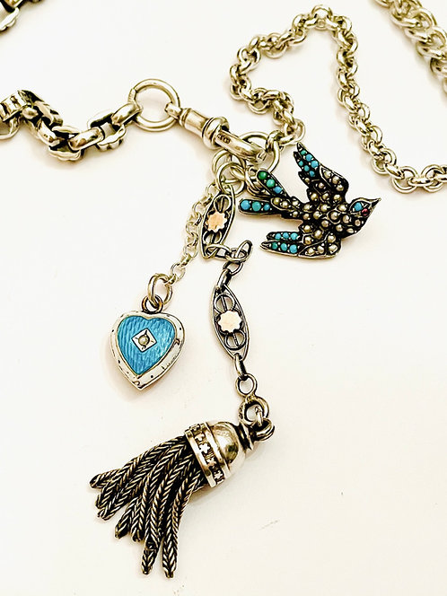 Exquisite Victorian Turquoise, Pearl Swallow Watch Chain Charm Necklace