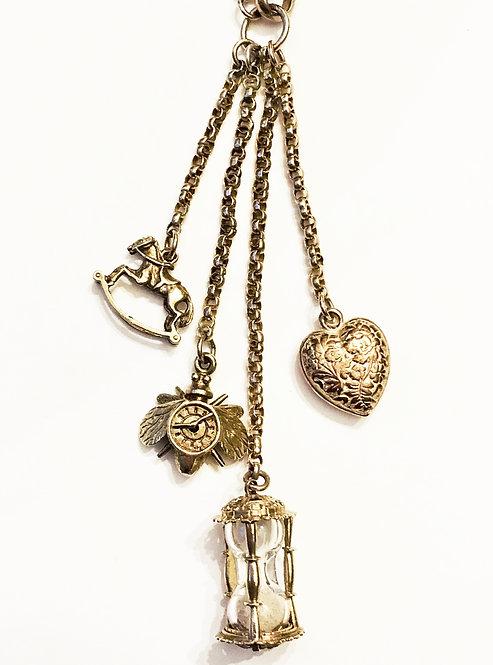 Antique 9ct Gold Chain Vintage Charm Necklace 'Time Flies'