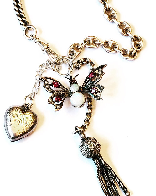 Victorian Opal, Ruby, Seed Pearl Butterfly, Silver Chains, Albertina Necklace