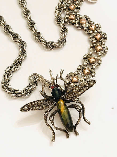 Antique French Locket Rope Chain Fusion, Victorian Flying Bug, Insect Necklace
