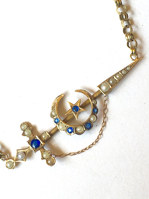 Antique 9ct Gold Sword, Crescent, Star Necklace