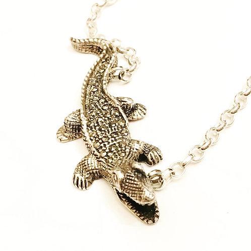 Awesome Vintage Silver and Marcasite Embellished Crocodile Alligator Necklace