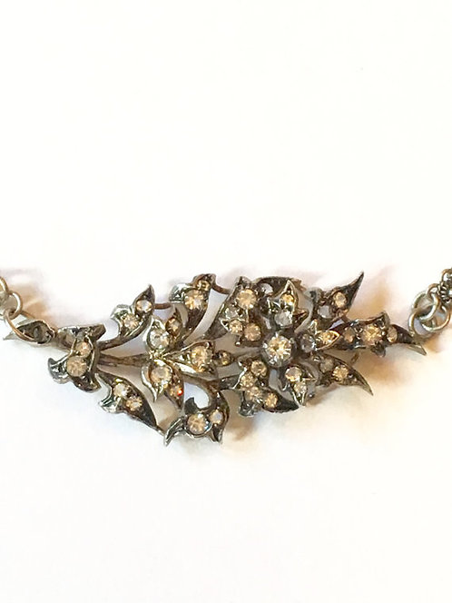 Vintage Silver and Diamond Paste in Exotic Fancy Silver Chain Necklace