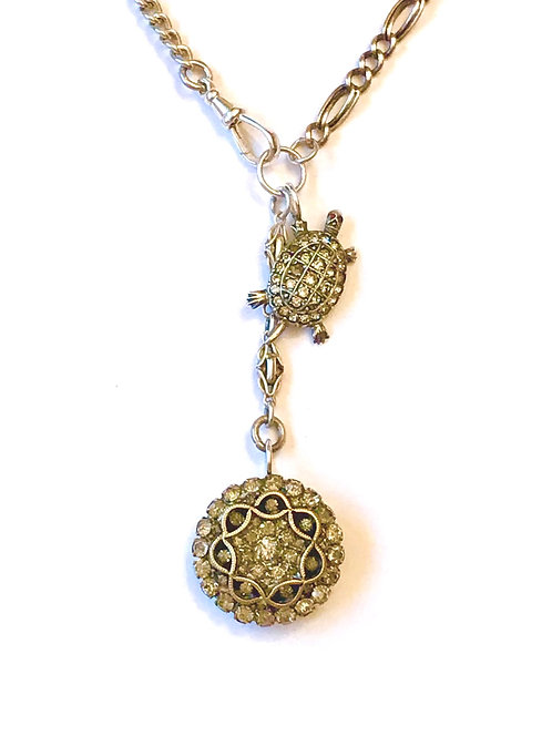 Silver Multi Watch Chain Victorian Charm Turtle Necklace