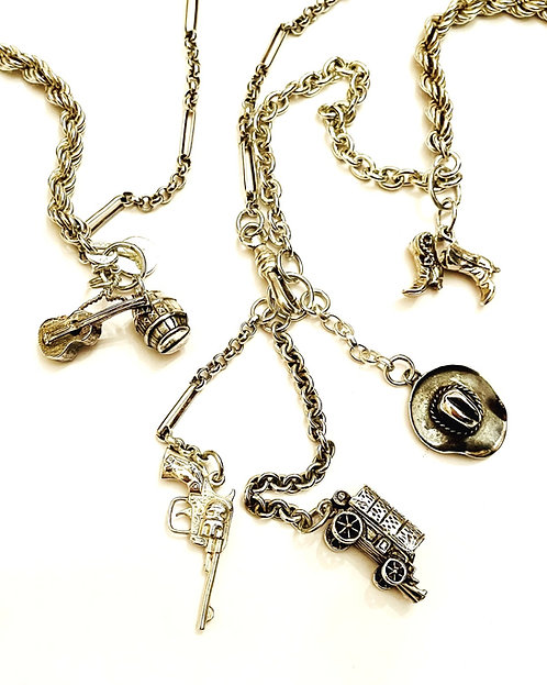 Silver Vintage Chain and Charm Western Themed Long Necklace 'The Wild West''