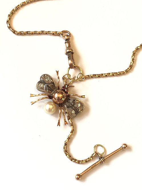Vintage 14ct Gold, Diamond, Ruby, Pearl Bee, Victorian Chain Necklace