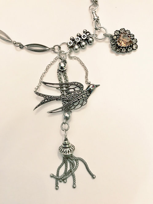 Antique & Vintage Silver Swallow Marcasite Tassel Necklace 'Autumn'
