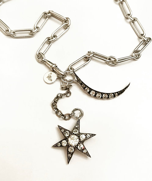 Silver Watch Chain Fancy Link Moon & Star Charm Necklace
