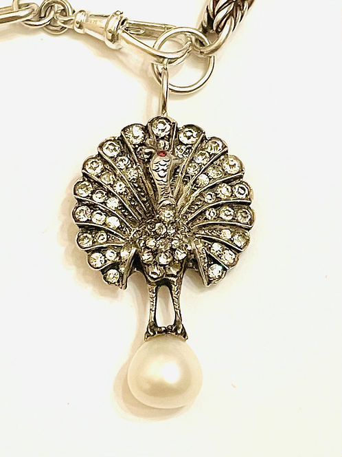 Silver Antique & Vintage Chains Silver  Paste Pearl, Peacock Necklace
