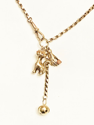 Gold coral cat necklace