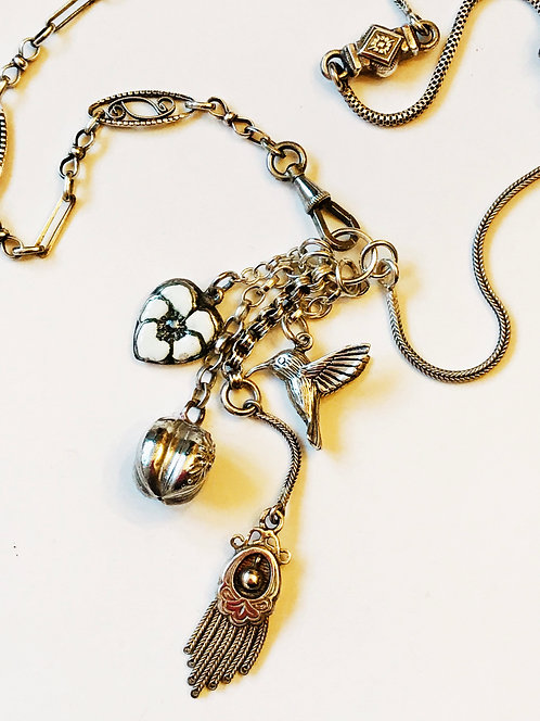 French Antique Silver Albertina Chain Hummingbird Charms & Curios Necklace