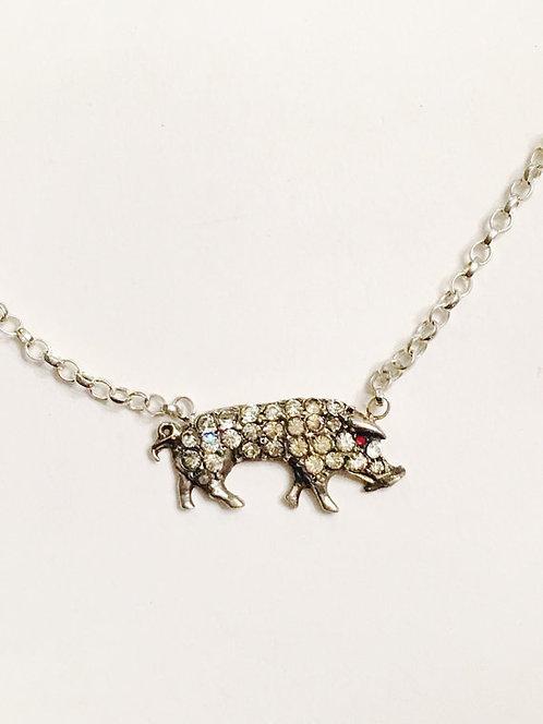 Vintage Silver and Diamond Paste Pig/Boar