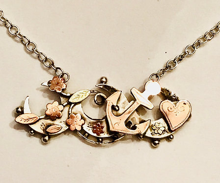 Antique Silver Sweetheart Anchor, Crescent, Flower, Heart Necklace