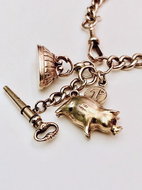 9ct Rose Gold Antique Watch Chain Charm Bracelet